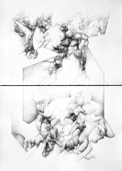 """""""Partido en dos"""" Grafito/papel 112x80 cm 2009"""